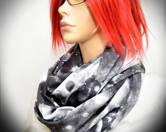 Black & White  infinity scarf with galaxy print