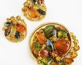 Art signed Agate and Rhinestone Demi Parure