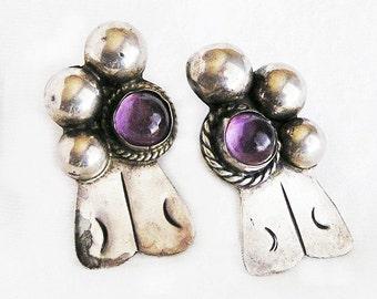 Sterling Amethyst Mexico Earrings Pre Eagle