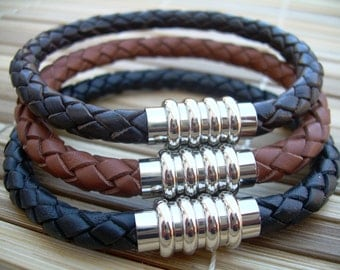 Leather Bracelet with Stainless Steel Magnetic Clasp, Groomsmen Gift, Mens Gift, Mens Jewelry, Mens Bracelet, Leather Bracelet