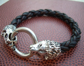Mens Braided Leather Bracelet, Natural Black, With Lions Head Toggle Clasp, Mens Gift, Mens Jewelry, Mens Bracelet