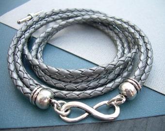 Leather Bracelet, Infinity Bracelet, Metallic Gray - Silver, Braided, Triple Wrap, Womens Bracelet, Womens Jewelry, Womens Gift