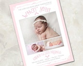 """Birth Announcement, Vintage Inspired, """"What Joy"""" - a printable photo card for your baby girl (No. 11006)"""