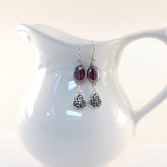 Silver Purple Earrings Purple Czech Glass Oval Silver Swirl Dangle Wire Beaded Handmade