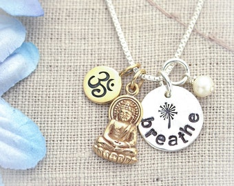 Yoga Breathe Ohm Buddha Necklace with Pearl Hand Stamped Jewelry