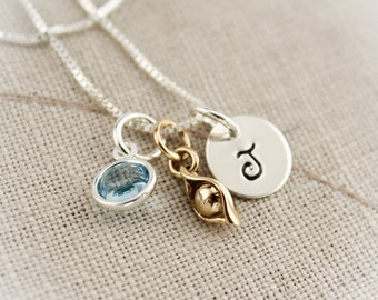 One Pea in a Pod Necklace  Personalized Sterling Silver and Bronze with Birthstones Hand Stamped Jewelry