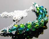 "Absinthe Green Swarovski Crystal Necklace Emerald Fern Green Peridot 2X AB Beadweaving Sterling Silver - ""The Green Fairy"""