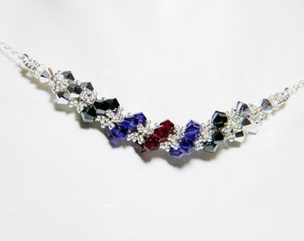 """Once Upon a Time Evil Queen Inspired Swarovski Crystal Necklace Beadweaving Sterling Silver -  """"Regina"""""""