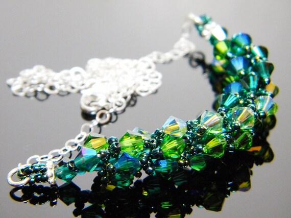 "Absinthe Green Swarovski Crystal Necklace Emerald Fern Green Peridot 2X AB Beadweaving Sterling Silver - ""The Green Fairy"""