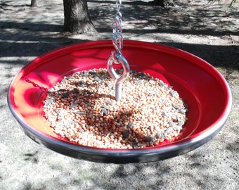 Recycled Hanging Red Birdfeeder from a 1960 - 1961 Chevy Corvair Hubcap - Chevrolet Classic Car Hub Cap Bird Feeder