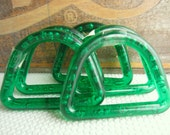 Vintage Lucite Emerald Green D Ring Craft Handle Macrame Supplies One Pair