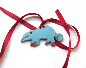 Ceramic Necklace----Blue---Chrsitmas gift-- Red and turquoise-- handmade