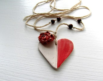 My Red White HeaRt----------Ceramic Necklace---love----Valentine's Day