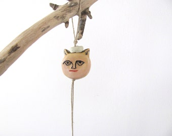 Ceramic miniature doll on string---Holiday gift--can be part of a moblie-children-miniature-Mobile---Neutral