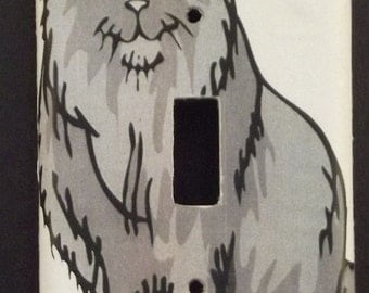Gray Cat Switchplate Cover - Free Shipping - 1024ANML