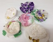 Hankie Babies -- hair clip, vintage hankies, lace, tablecloths, table runners, vintage scrap fabric