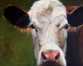 Cow Painting- Frances  - Paper Print of an Original Acrylic Painting by Cari Humphry