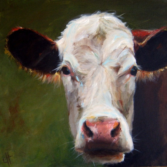 Items similar to Cow Painting- Frances - Paper Print of an ...