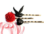 Raven Rose and Heart Bobby Pins. Red Rose Blackbird Black Heart. Gothic Hair Accessories.