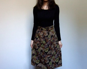 Vintage Leaf Print Wool Skirt Fall Fashion Knee Length Skirt Women Rustic Black Brown - Small S