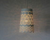 Queen Anne's Lace - UpCycled Hanging Pendant Lamp - White Mesh Lace Metal Garden Planter Lighting Fixture - Modern BootsNGus Lamp Design
