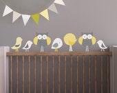 Owl Wall Decal, Bird Wall Decal, Nursery Wall Decal, Baby Wall Decal, Yellow Decal, Gray Wall Decal. Birds and Owls Children Wall Decal