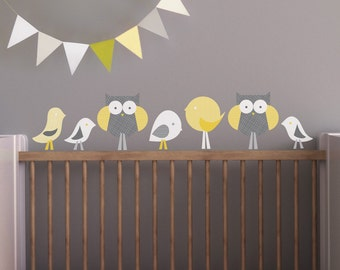 Owl Wall Decal, Bird Wall Decal, Nursery Wall Decal, Baby Wall Decal, Yellow Decal, Gray Wall Decal. Birds and Owls Children Wall Decal