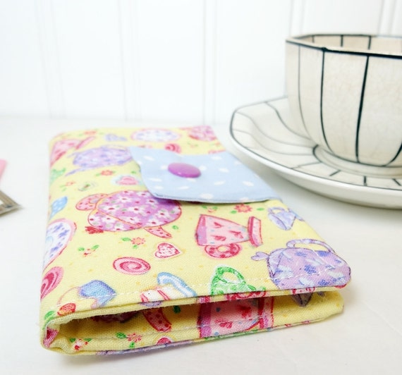 Tea wallet  Tea bag case Yellow pink teapots