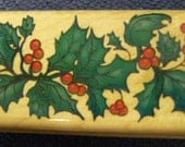 Holly Branch with Berries - Great WM Rubber Stamp by Inkadinkado - Christmas Cards - Collage - Scrapbooks - ATC - Crafts - FREE Shipping