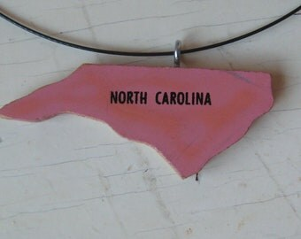 North Carolina Vintage Wooden Puzzle Necklace with Cable Necklace