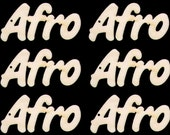 Word Afro Connected Letters Natural Craft Wood Cutout 132