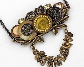 Button Statement Necklace Vintage Buttons Swarovski Crystals John Wind Maximal Art Focal Steampunk Victorian Antique Bronze Brass OOAK