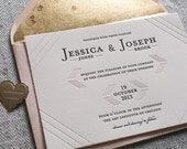 Letterpress Wedding Invitation Set - Blush and Gold - Modern Linear