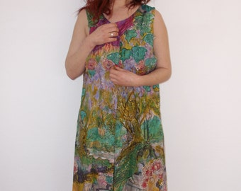 handpainted long silk-vest size L.