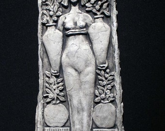 Woman with Vases Ceramic Pottery Relief Sculpture Tile