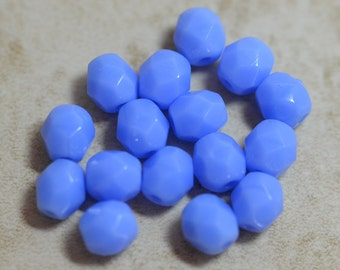 Czech glass firepolished round beads 6mm Periwinkle blue (25)   Item 1344