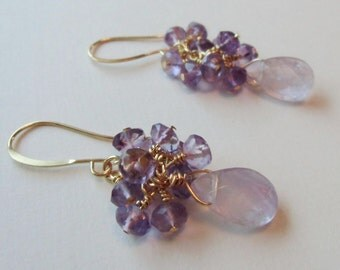 Lavendar amethyst earrings, 22ct gold plated.