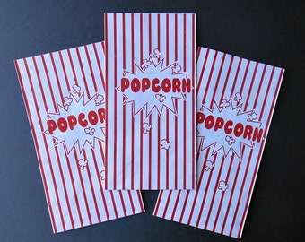 10 Paper POPCORN BAGS- Old-fashioned Circus, Steampunk Circus, Victorian  Circus popcorn party red and white striped popcorn bags treat bags