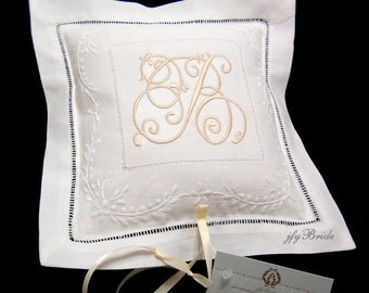 Ring Bearer Pillow, Ring Pillow, Monogram Wedding Ring Pillow, Monogram, Irish Linen, Ring Bearer, Wedding Ring Cushion, Style 7961