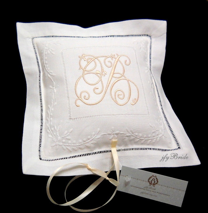 Monogram Wedding Ring Bearer Pillow: Ring Bearer Pillow Ring Pillow Monogram Wedding Ring Pillow