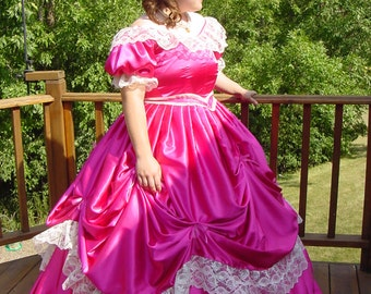 CUSTOM Victorian Bridal Civil War Steampunk Ball Gown Dress in taffeta and lace