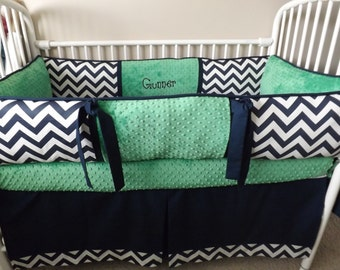 Navy Chevron and kelly green bumper bedding Crib set DEPOSIT Down payment ONLY read details