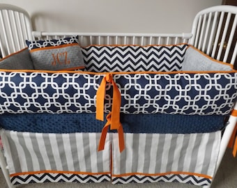Baby boy bedding crib sets Navy Chevron gray  Orange  bumper  boy  DEPOSIT Down payment ONLY