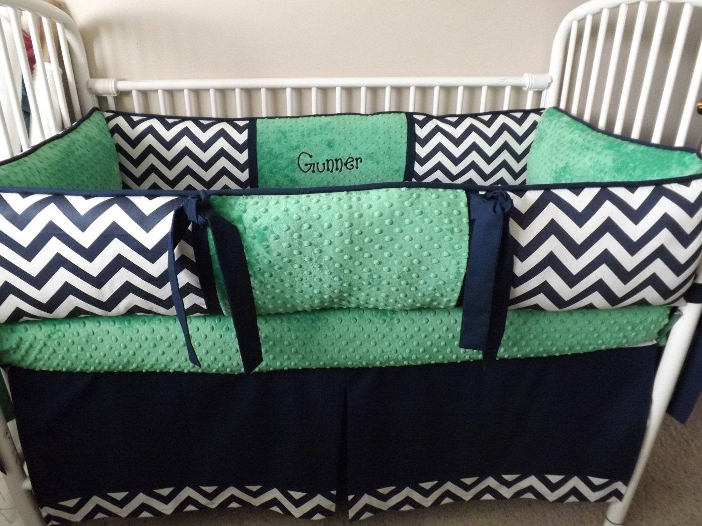 Navy Chevron And Kelly Green Bumper Bedding Crib Set Deposit