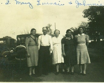 Serious Farmers Bald Man Women Standing Ford Cars 1920s Vintage Black and White Photo Photograph