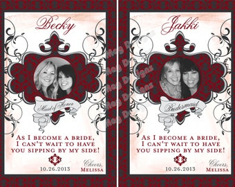 Personalized Bridesmaid Wine Labels for Victorian Wedding, Bridesmaid Gifts, Favors, Bridal Showers, Wedding Decor