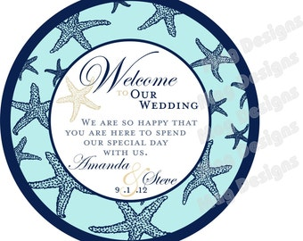 Starfish 4 inch Round OOT Welcome Tags and Itinerary for Beach Wedding Hotel Guests