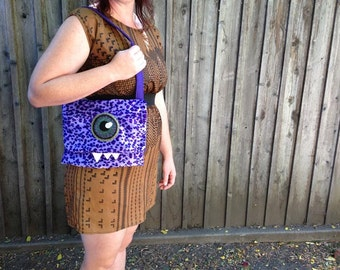 Purple Cyclops Leopard Monster Purse- Hand-painted Eyes