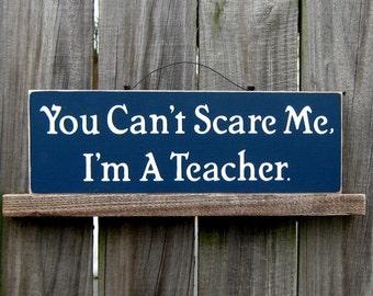 Teacher Sign, Classroom, Teacher, Funny, Humorous, Teacher Gift, Navy Blue, Ivory Lettering