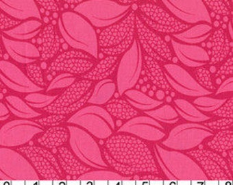 Patty Young- Lush - Tossed Leaves in Raspberry- 1 yard